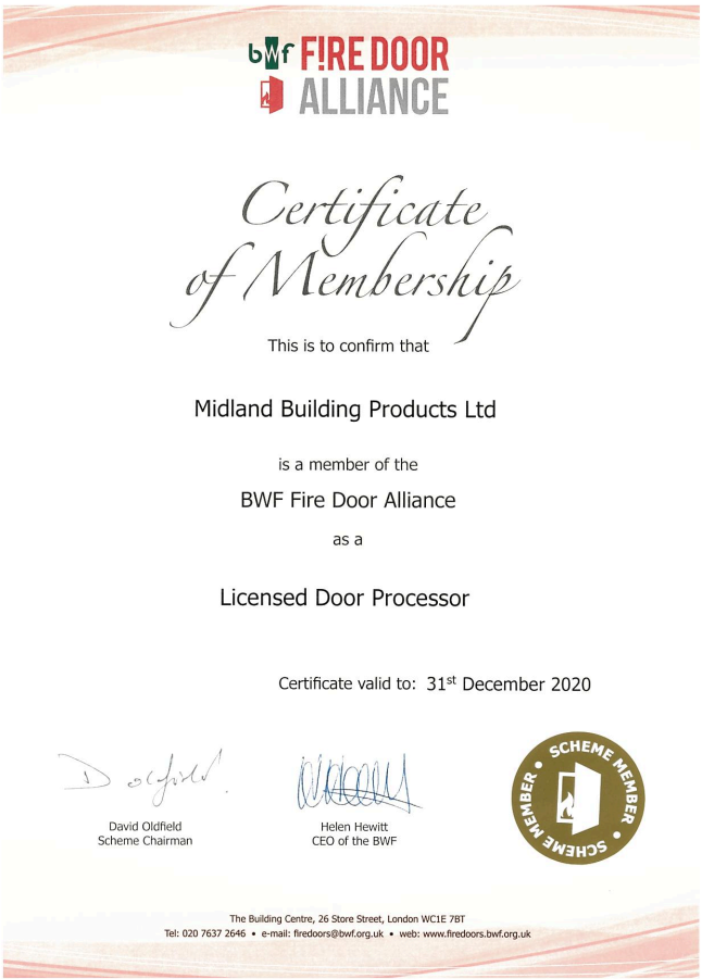 MBP Fire Door Alliance Membership Certificate 2018-2019