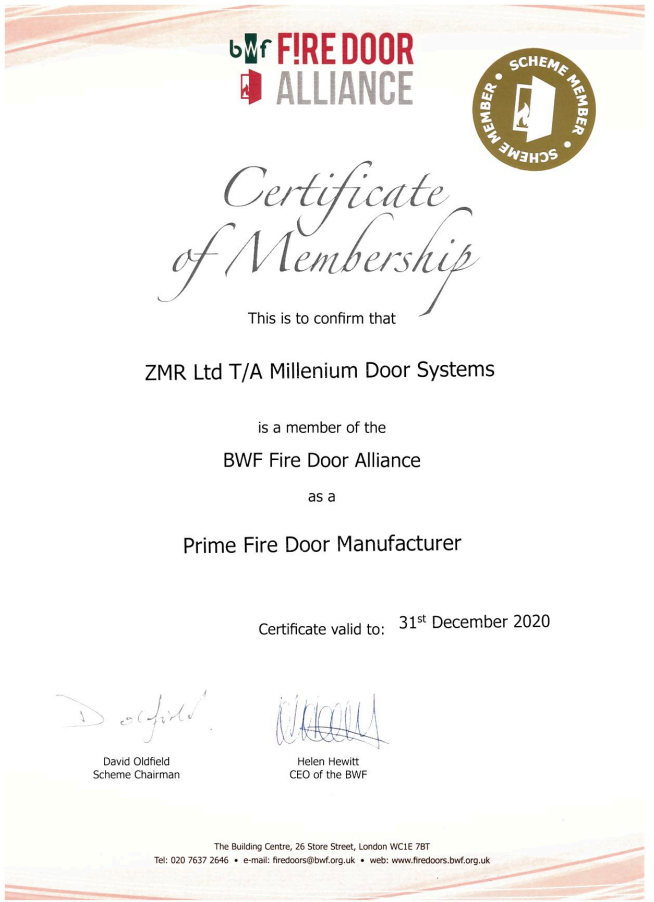 MDS Fire Door Alliance Membership Certificate 2018-2019