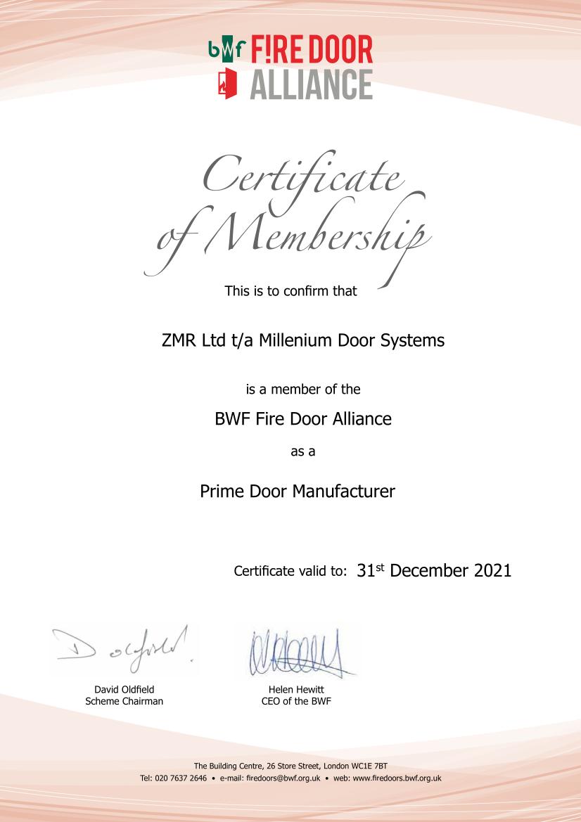 MDS Fire Door Alliance Membership Certificate 2018-2019