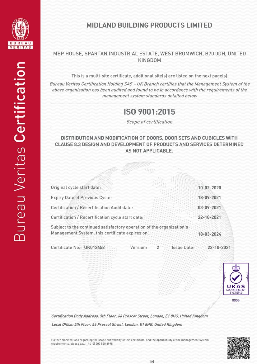 MBP Fire Door Alliance Membership Certificate 2018-2019